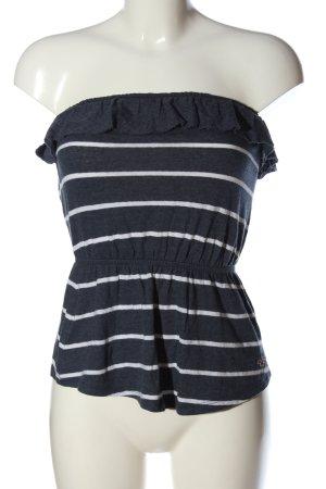 Hollister Schößchentop schwarz-weiß Streifenmuster Casual-Look