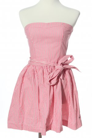 Hollister Off-The-Shoulder Dress pink-white striped pattern casual look