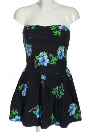 Hollister schulterfreies Kleid blau-grün Allover-Druck Elegant