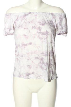 Hollister Hauts épaule nues blanc-violet motif abstrait style décontracté