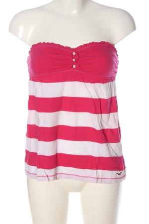 Hollister Top sin hombros rosa-blanco estampado a rayas look casual