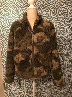 Hollister Sherpa jacke Camouflage M L XL grün flauschig