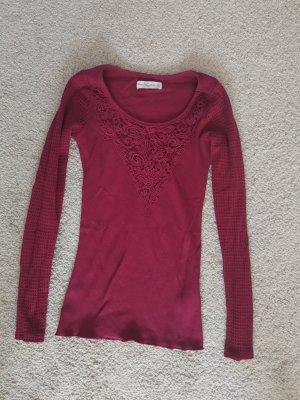 Hollister Shirt bordeauxrot mit Spitze, Größe XS 34