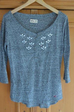 Hollister Shirt, grau meliert, Gr. M, mit Glitzersteinen