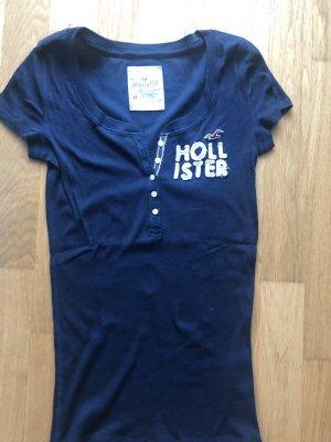 Hollister Prążkowana koszulka ciemnoniebieski