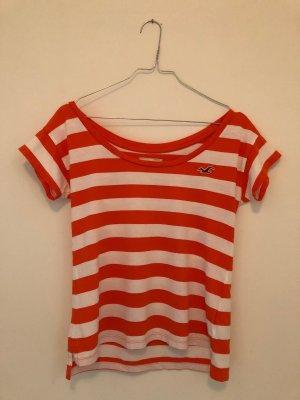 Hollister Shirt, Orange-Weiß gestreift, mit weitem Ausschnitt