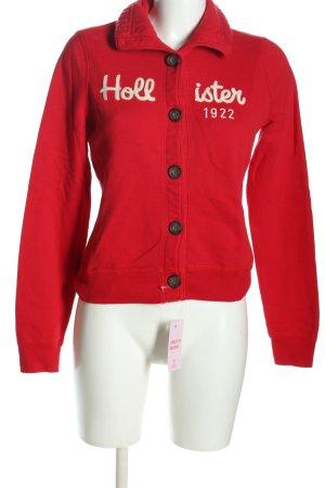 Hollister Chaqueta estilo camisa rojo-blanco letras impresas look casual