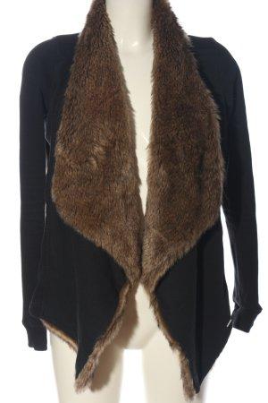 Hollister Fake Fur Jacket black-brown casual look