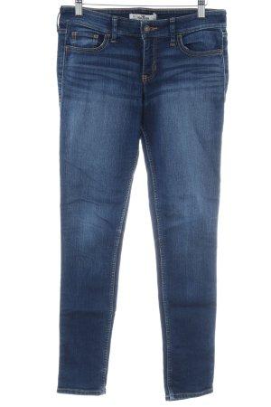 Hollister Skinny Jeans dunkelblau-wollweiß Washed-Optik