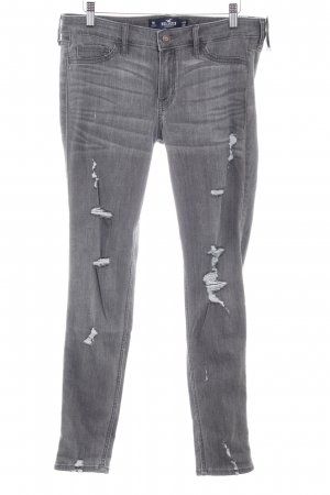 Hollister Skinny Jeans grau Destroy-Optik
