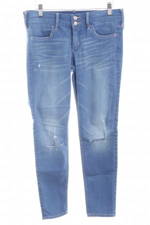 Hollister Skinny Jeans stahlblau Destroy-Optik
