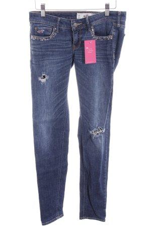 Hollister Skinny Jeans stahlblau-kornblumenblau Casual-Look