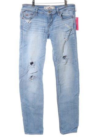 Hollister Slim Jeans blau-weiß Casual-Look