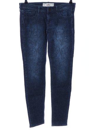 Hollister Slim Jeans blau Blumenmuster Casual-Look
