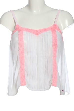 Hollister Spaghettiträger Top weiß-pink Casual-Look