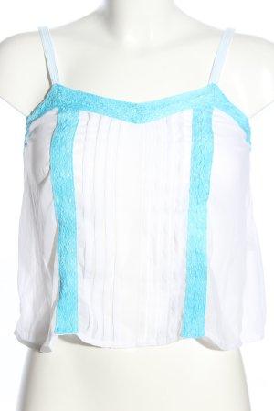 Hollister Haut à fines bretelles blanc-turquoise style décontracté
