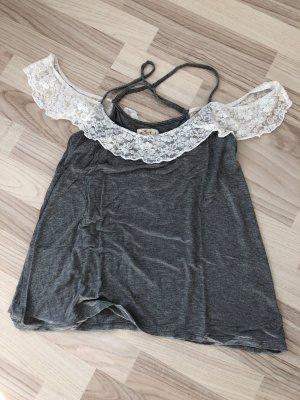 Hollister Carmen Shirt grey-white