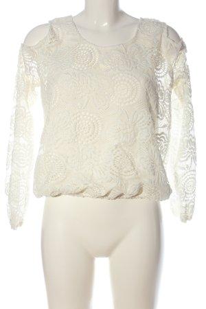 Hollister Koronkowa bluzka biały W stylu casual