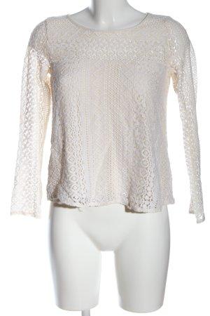 Hollister Koronkowa bluzka biały Siateczkowy wzór W stylu casual
