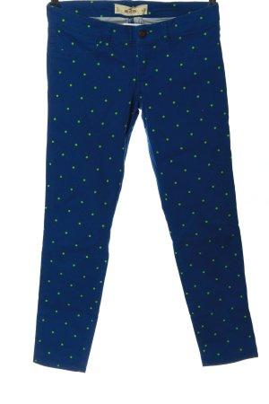 Hollister Stretchhose blau-grün Allover-Druck Casual-Look