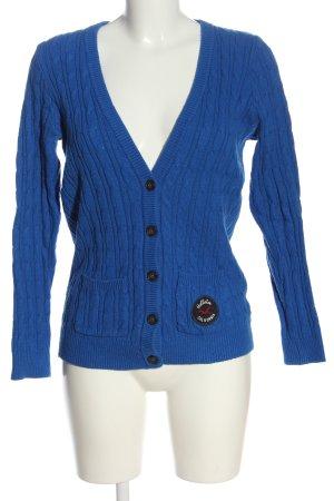 Hollister Strick Cardigan blau Zopfmuster Casual-Look