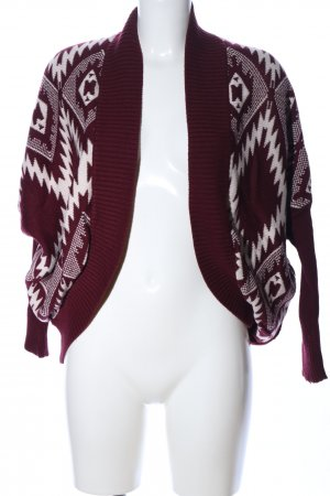 Hollister Strick Cardigan rot-weiß abstraktes Muster Casual-Look