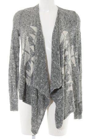 Hollister Strick Cardigan hellgrau-wollweiß grafisches Muster Casual-Look