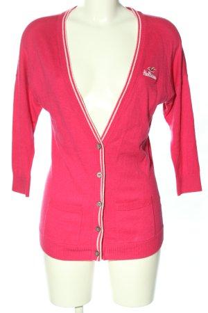 Hollister Strickjacke pink-weiß Streifenmuster Casual-Look