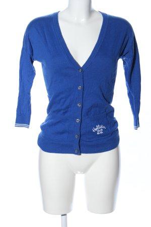 Hollister Strickjacke blau Schriftzug gedruckt Casual-Look