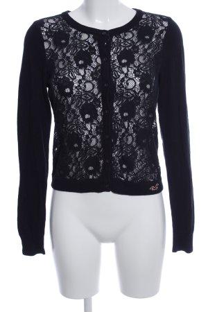Hollister Strickjacke schwarz-weiß Blumenmuster Casual-Look