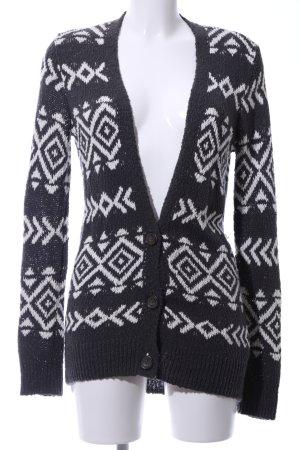 Hollister Strickjacke schwarz-weiß grafisches Muster Business-Look