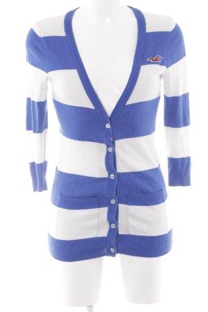 Hollister Strickjacke blau-weiß Streifenmuster Casual-Look