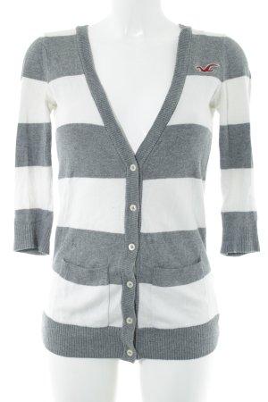 Hollister Strickjacke weiß-grau Streifenmuster Casual-Look