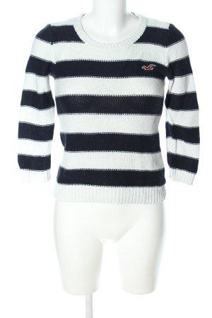 Hollister Strickpullover weiß-schwarz Streifenmuster Casual-Look
