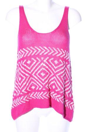 Hollister Stricktop pink-weiß grafisches Muster Casual-Look