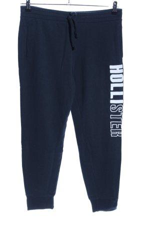 Hollister Pantalon de jogging bleu-blanc lettrage imprimé style décontracté