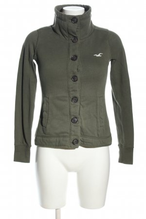Hollister Sweatjacke khaki-weiß Motivdruck Casual-Look
