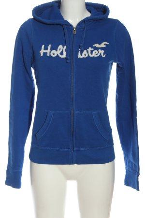 Hollister Sweatjacke blau-weiß Schriftzug gedruckt Casual-Look