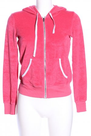 Hollister Sweatjacke pink-weiß Casual-Look