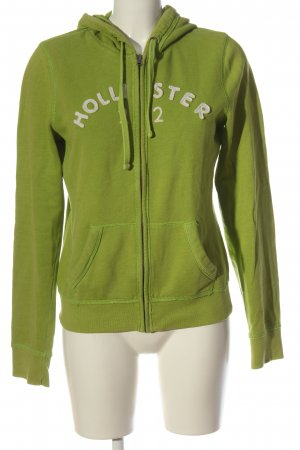 Hollister Sweatjacke grün-wollweiß Motivdruck Casual-Look