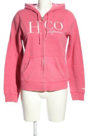Hollister Sweatjacke pink-weiß Schriftzug gedruckt Casual-Look
