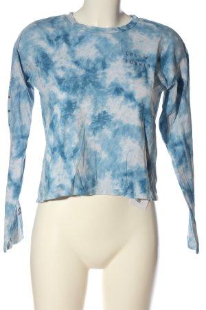 Hollister Sweatshirt blau-weiß abstraktes Muster Casual-Look