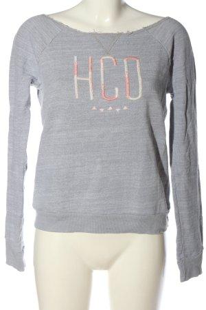 Hollister Sweatshirt blau Schriftzug gestickt Casual-Look