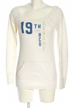 Hollister Sweatshirt wollweiß-blau Schriftzug gedruckt Casual-Look