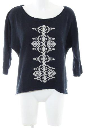 Hollister Sweatshirt blau-weiß grafisches Muster Casual-Look