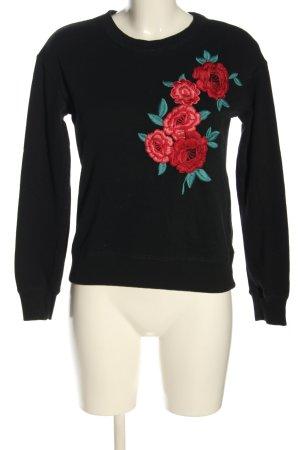 Hollister Sweatshirt schwarz-rot Blumenmuster Casual-Look