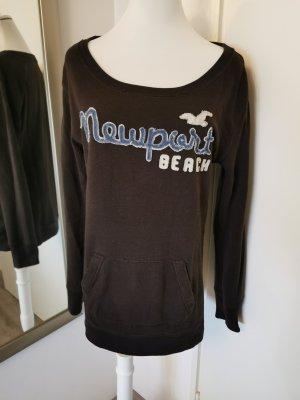 Hollister Sweatshirt mit Taschen Gr. M Schokobraun