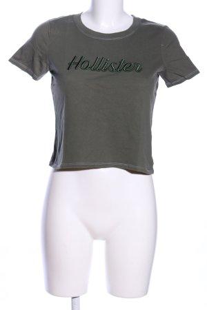Hollister T-Shirt hellgrau Schriftzug gestickt Casual-Look