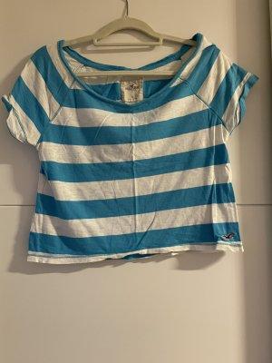 Hollister Camicia cropped bianco-blu neon