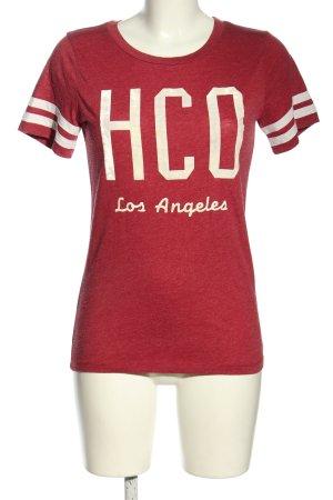 Hollister T-Shirt rot-creme Schriftzug gedruckt Casual-Look